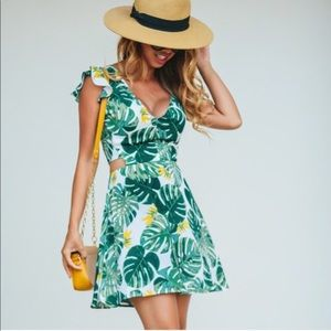 For love and lemons tropical print dress